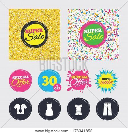 Gold glitter and confetti backgrounds. Covers, posters and flyers design. Clothes icons. T-shirt with business tie and pants signs. Women dress symbol. Sale banners. Special offer splash. Vector