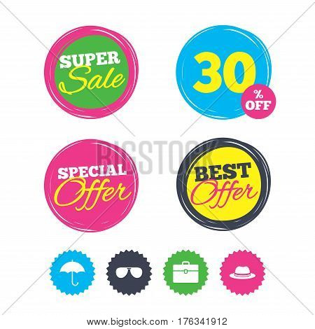 Super sale and best offer stickers. Clothing accessories icons. Umbrella and sunglasses signs. Headdress hat with business case symbols. Shopping labels. Vector