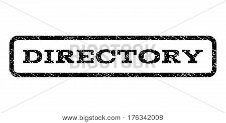 Directory watermark stamp. Text caption inside rounded rectangle with grunge design style. Rubber seal stamp with scratched texture. Vector black ink imprint on a white background.