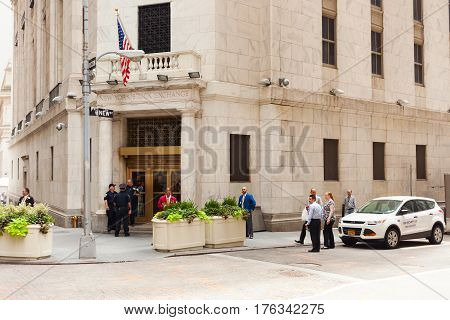 Entrance To The New York Stock Exchange In Manhattan