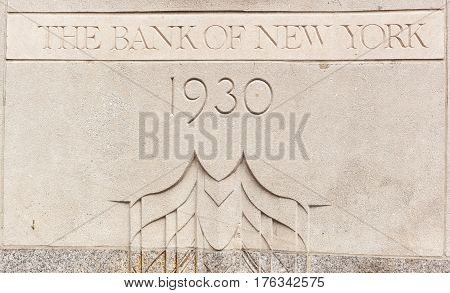Bank Of New York 1930 Building Inscription.