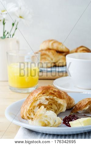 Continental Breakfast With Croissants, Coffee And Orange Juice
