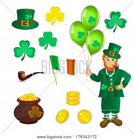 Smiling leprechaun in green clothes with a pipe in his mouth, with three balloons in hand. Shamrock and pan with Golden coins