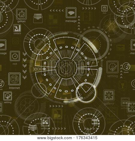 Seamless Pattern. Abstract Future