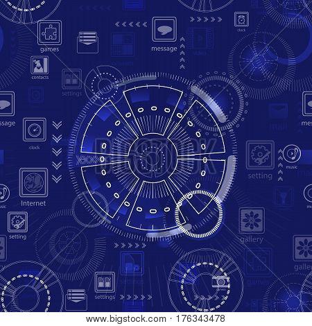 Seamless Pattern. Abstract Future Technology