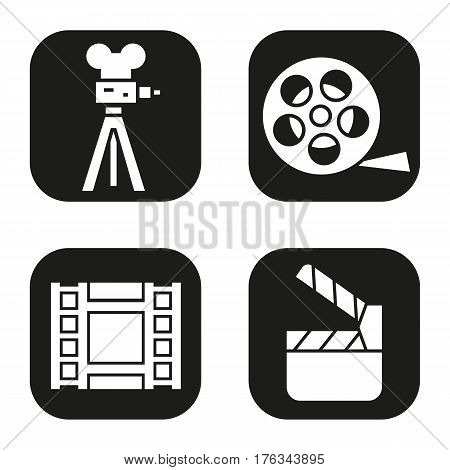 Filming icons set. Film camera, video, reel, movie clapperboard symbol. Vector white silhouettes illustrations in black squares