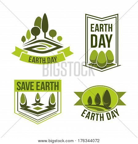 Earth Day icons for green ecology and clean environment or earth nature conservation concept. Vector isolated set of trees and plants for 22 April global pollution protection Earth Day design