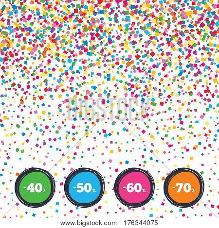 Web buttons on background of confetti. Sale discount icons. Special offer price signs. 40, 50, 60 and 70 percent off reduction symbols. Bright stylish design. Vector
