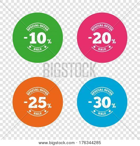 Sale discount icons. Special offer stamp price signs. 10, 20, 25 and 30 percent off reduction symbols. Round buttons on transparent background. Vector