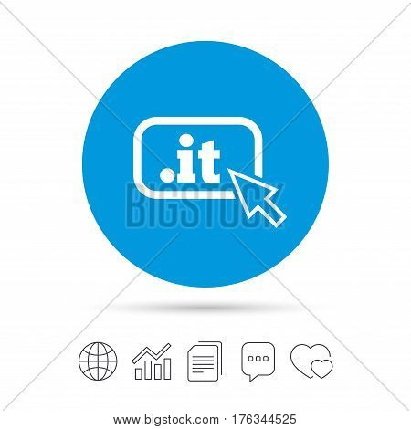Domain IT sign icon. Top-level internet domain symbol with cursor pointer. Copy files, chat speech bubble and chart web icons. Vector
