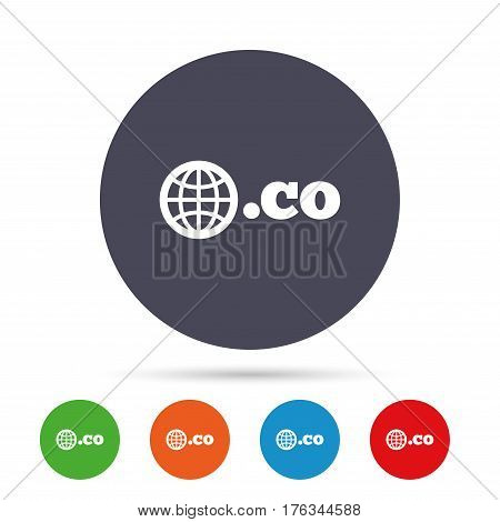 Domain CO sign icon. Top-level internet domain symbol with globe. Round colourful buttons with flat icons. Vector