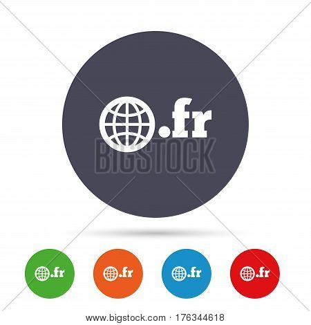 Domain FR sign icon. Top-level internet domain symbol with globe. Round colourful buttons with flat icons. Vector