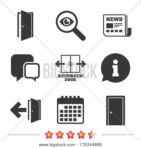 Automatic door icon. Emergency exit with arrow symbols. Fire exit signs. Newspaper, information and calendar icons. Investigate magnifier, chat symbol. Vector