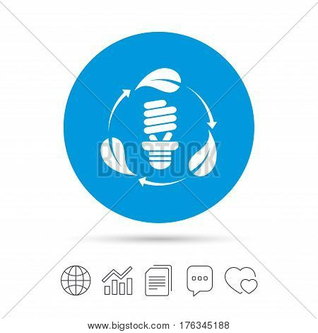 Fluorescent lamp bulb with leaves sign icon. Energy saving. Economy symbol. Copy files, chat speech bubble and chart web icons. Vector