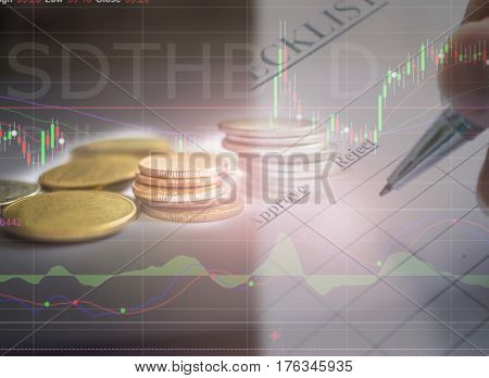 Financial Chart And Stacks Of Golden Coins. Selective Focus