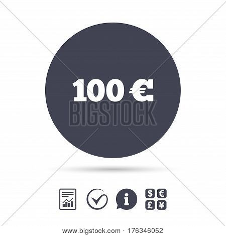 100 Euro sign icon. EUR currency symbol. Money label. Report document, information and check tick icons. Currency exchange. Vector