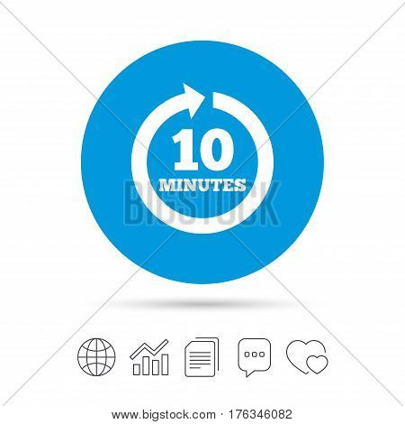 Every 10 minutes sign icon. Full rotation arrow symbol. Copy files, chat speech bubble and chart web icons. Vector