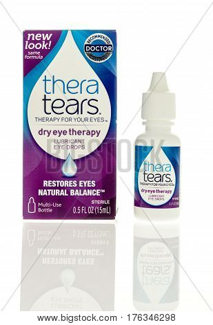 Winneconne WI - 5 March 2017: Thera tears eye drops on an isolated background.