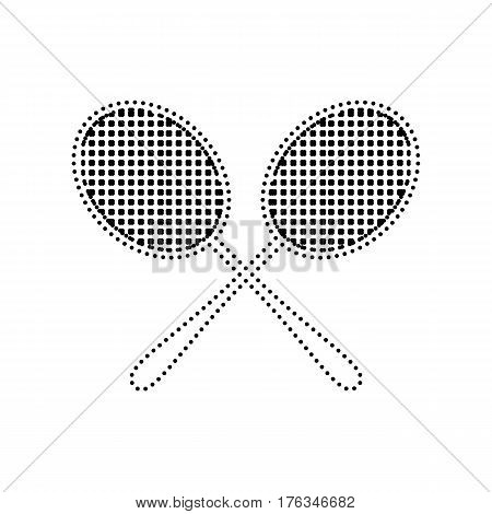 Tennis racquets sign. Vector. Black dotted icon on white background. Isolated.