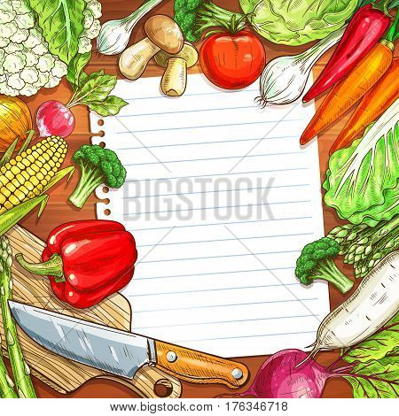 Vegetable and recipe paper with copy space on wooden background. Carrot, pepper, tomato, onion, broccoli, cabbage, mushroom, radish, asparagus, cauliflower with knife and cutting board for food design