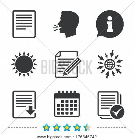 File document icons. Download file symbol. Edit content with pencil sign. Select file with checkbox. Information, go to web and calendar icons. Sun and loud speak symbol. Vector