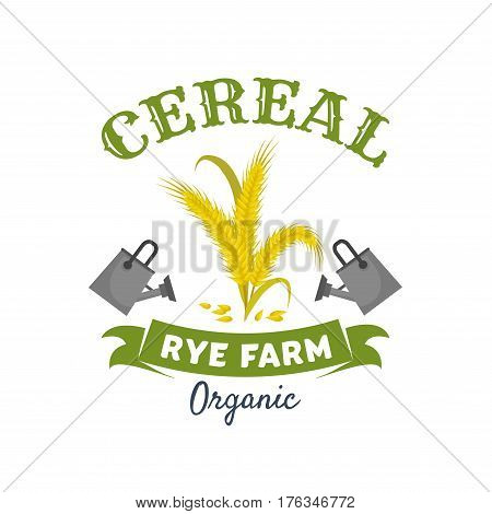 Cereal ears isolated symbol. Organic farm rye grain, spikelets and leaves, flanked by watering cans and ribbon banner. Cereal farming, agriculture, food packaging design