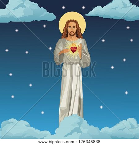 jesus christ sacred heart night background vector illustration eps 10