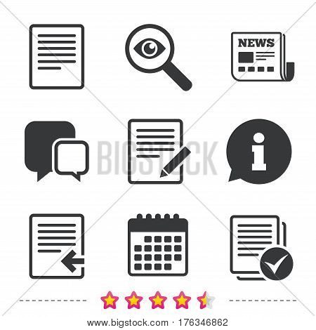 File document icons. Upload file symbol. Edit content with pencil sign. Select file with checkbox. Newspaper, information and calendar icons. Investigate magnifier, chat symbol. Vector