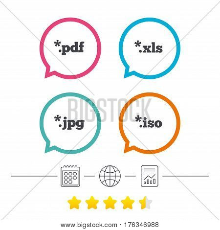 Document icons. File extensions symbols. PDF, XLS, JPG and ISO virtual drive signs. Calendar, internet globe and report linear icons. Star vote ranking. Vector
