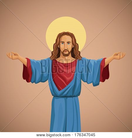 jesus christ religious image blessed vector illustration eps 10