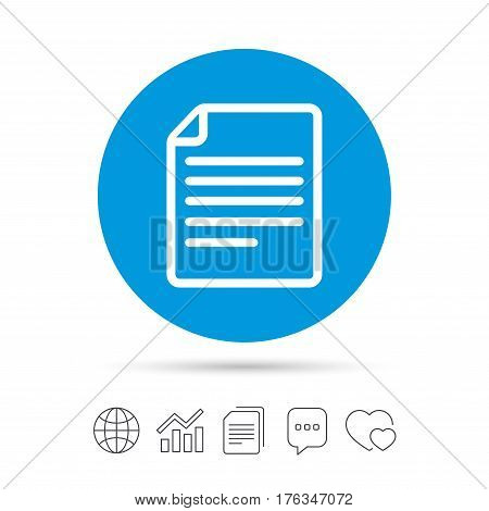 File document icon. Download doc button. Doc file symbol. Copy files, chat speech bubble and chart web icons. Vector
