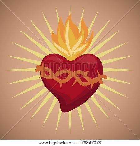 sacred heart blessed image vector illustration eps 10