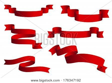 Red glossy ribbon vector banners set. Ribbons collection isolated on white background.