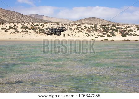 Incredible view of Costa Calma beach, blue lagoon. Playa Barca, Fuerteventura, Canary islands, Spain