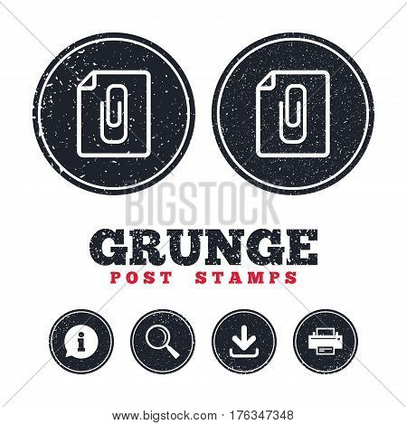 Grunge post stamps. File annex icon. Paper clip symbol. Attach symbol. Information, download and printer signs. Aged texture web buttons. Vector
