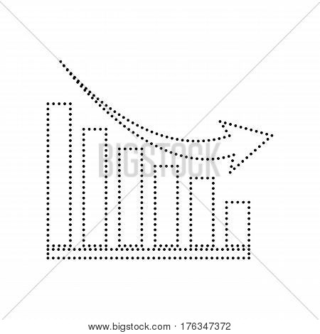 Declining graph sign. Vector. Black dotted icon on white background. Isolated.