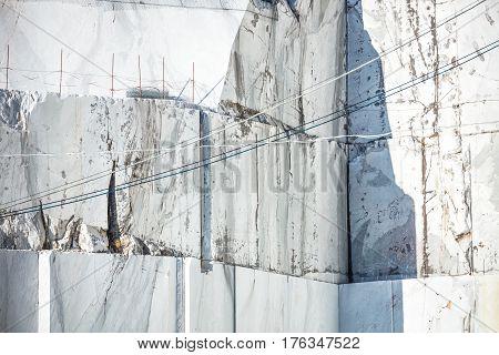 White marble quarry. Carrara Tuscany Italy Europe