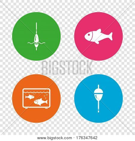 Fishing icons. Fish with fishermen hook sign. Float bobber symbol. Aquarium icon. Round buttons on transparent background. Vector