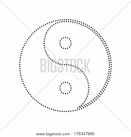 Ying yang symbol of harmony and balance. Vector. Black dotted icon on white background. Isolated.