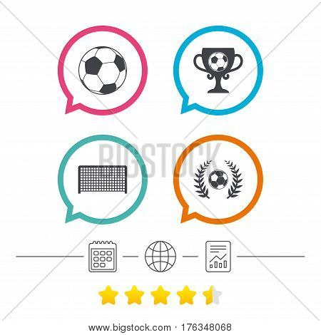 Football icons. Soccer ball sport sign. Goalkeeper gate symbol. Winner award cup and laurel wreath. Calendar, internet globe and report linear icons. Star vote ranking. Vector
