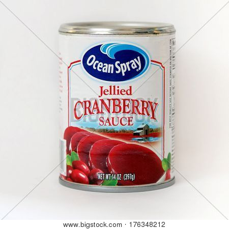 New York December 02: A can of Ocean Spray cranberry sauce isolated on white.