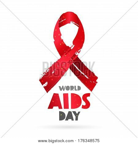 World AIDS Day. Lettering. Vector illustration on white background. Red ribbon. Elements for design. The concept of health.