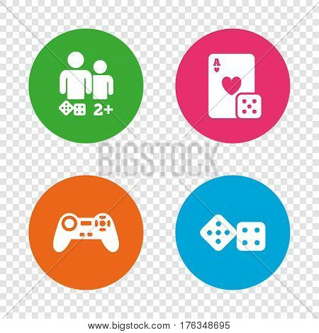 Gamer icons. Board games players signs. Video game joystick symbol. Casino playing card. Round buttons on transparent background. Vector