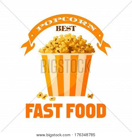 Popcorn bucket icon. Sweet caramel or salty popped corn kernels in paper box. Fastfood snack vector pop corn basket. Emblem or badge for restaurant takeaway or delivery, cinema or movie theater