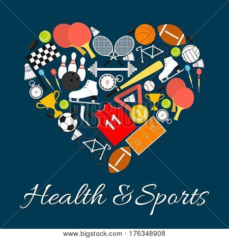 Health and sports in heart shape with vector pattern elements of sport life style. Training and sport game equipment balls, rackets, footbal, ski, skate, cup, baseball. I love sport life concept label