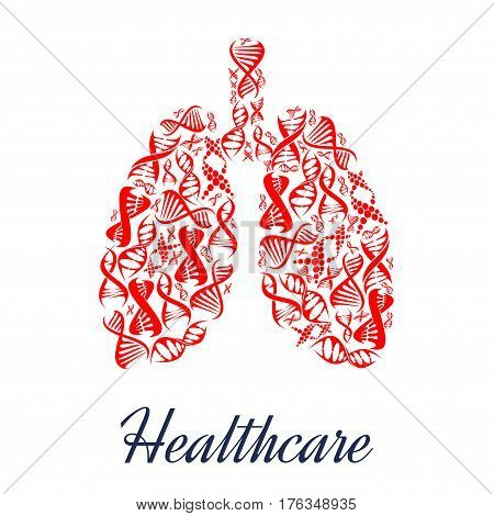 Healthcare vector human lungs organ symbol or poster of red DNA helix or chromosome cells. Genetics medical concept design for clinic or hospital and microbiology research laboratory