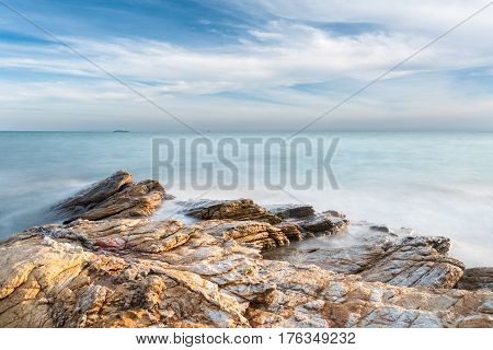 beautiful seascape in the morning the reef long exposure time