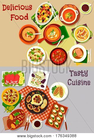 Salad, snack and soup dishes icon set of vegetable and fruit salads, ham roll, baked cheese and fish, vegetable, meat, bread and seafood soup, pork sandwich, grilled potato with bacon