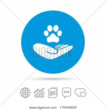 Shelter pets sign icon. Hand holds paw symbol. Animal protection. Copy files, chat speech bubble and chart web icons. Vector