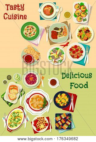 French, mexican, russian cuisine dishes icon set of fish snack with salmon, herring and cod, burrito, salads with vegetable, meat, fish, cheese, vegetable sausage stew, pickle soup, cheese waffle